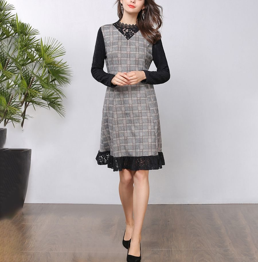 Cocktail Dress with Plaid and Lace