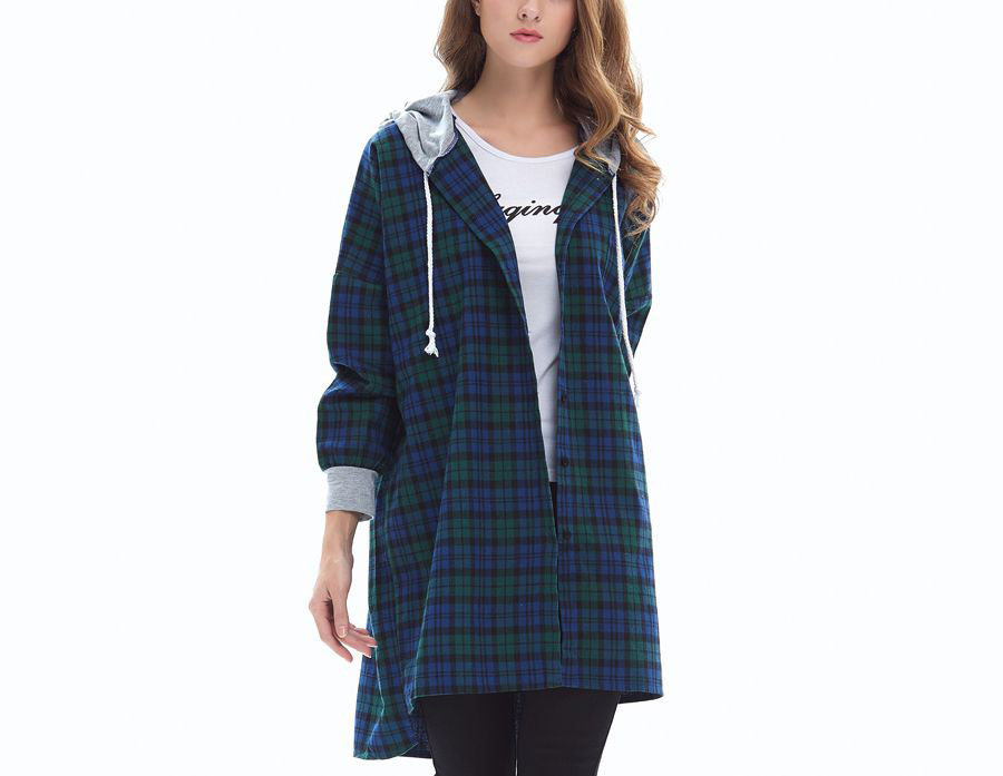 Snap Front Plaid Top or Coat
