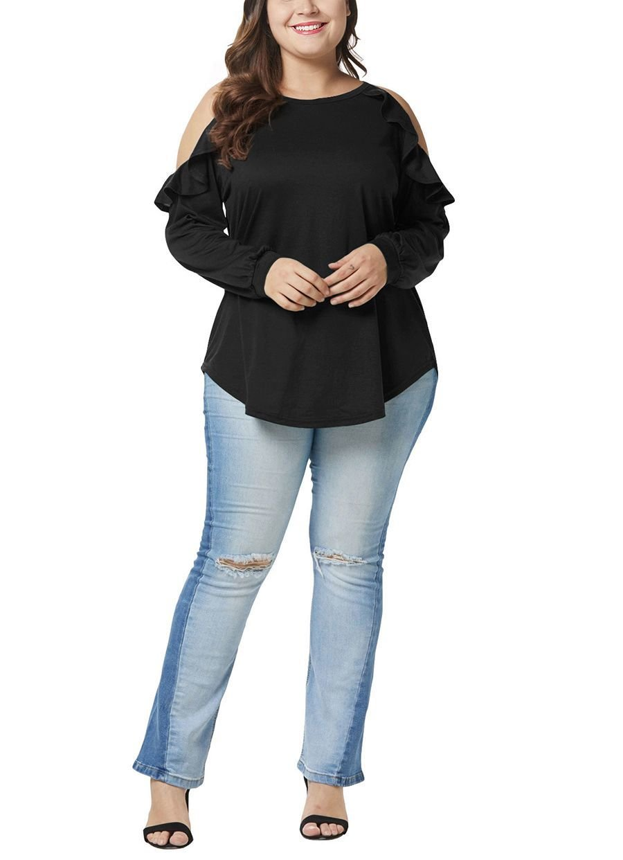 Plus Size Cold Shoulder Knit Top with Ruffles
