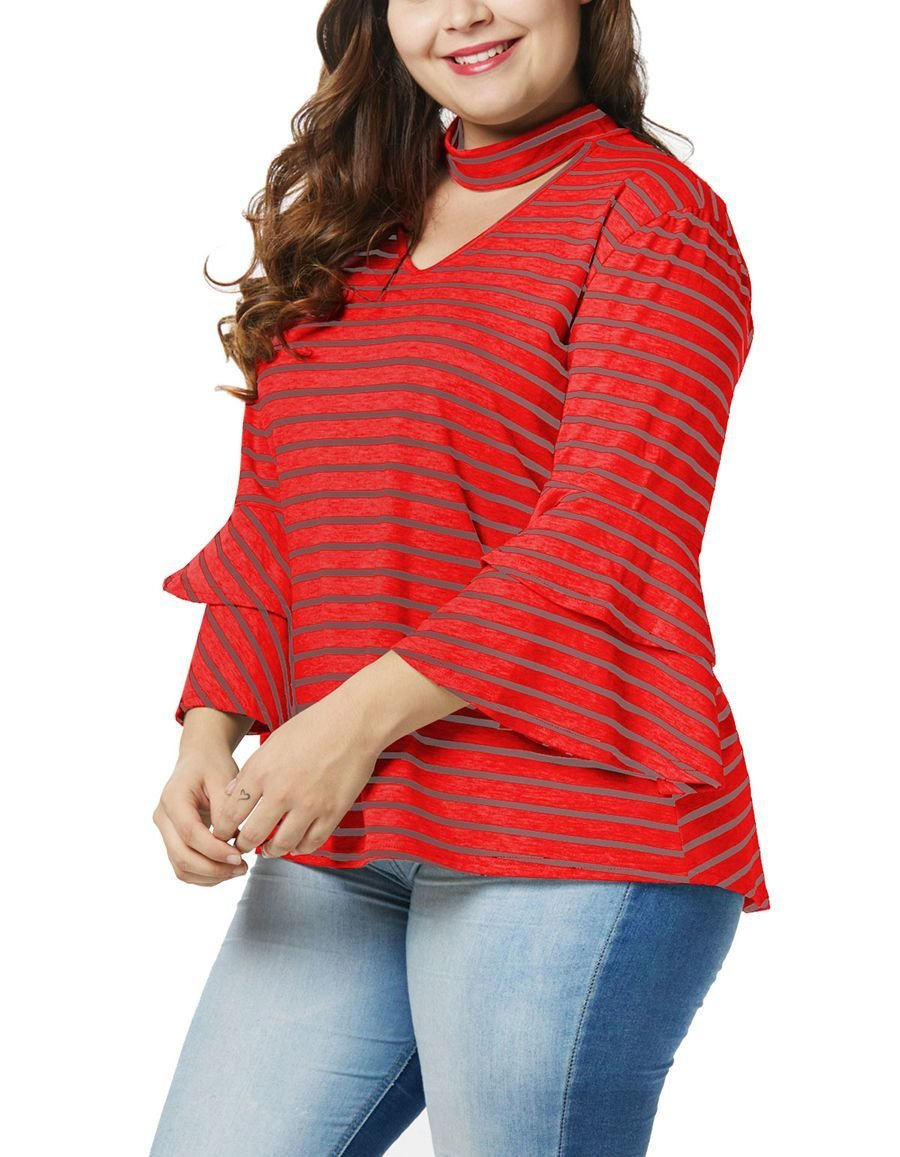 Cotton Blend Knit Top with Long Trumpet Sleeves