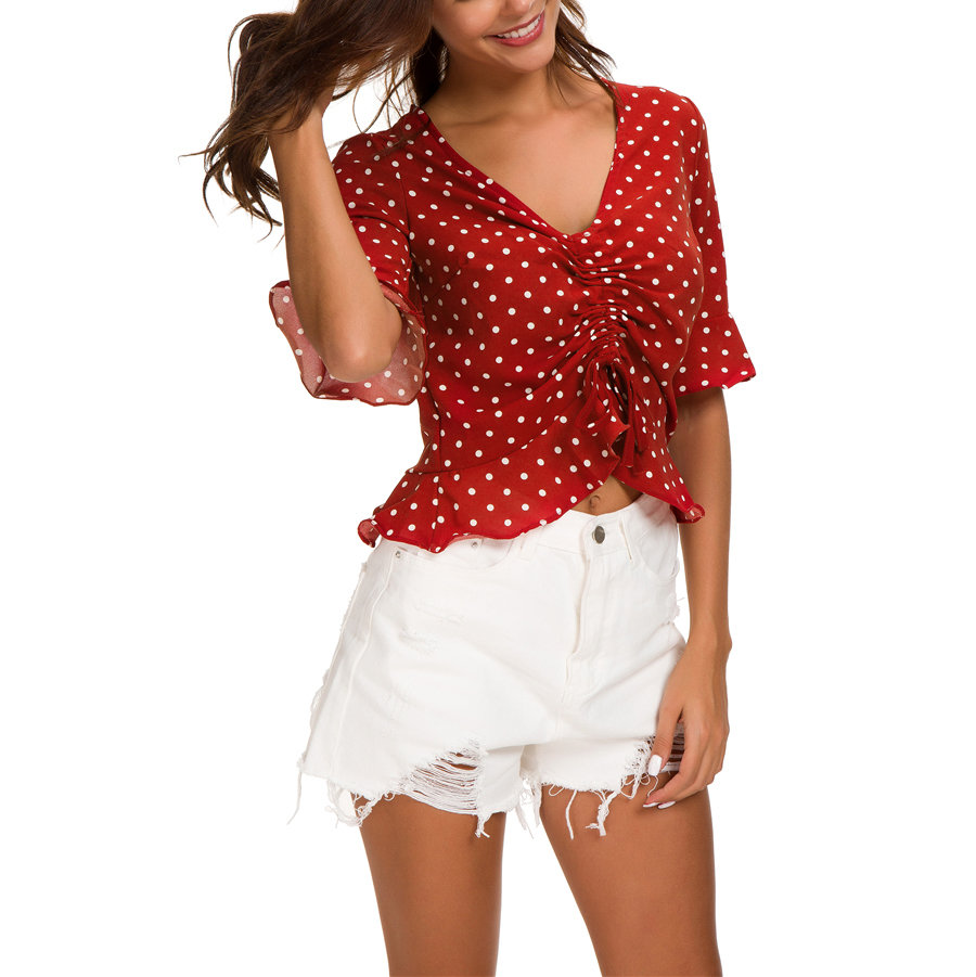 Ruffled Top with Adjustable Front Drawstring