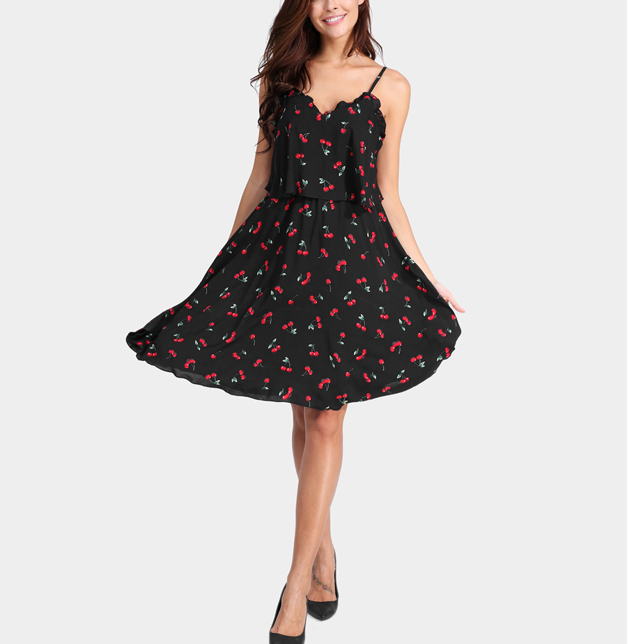 Flared Chiffon Dress with Adjustable Straps