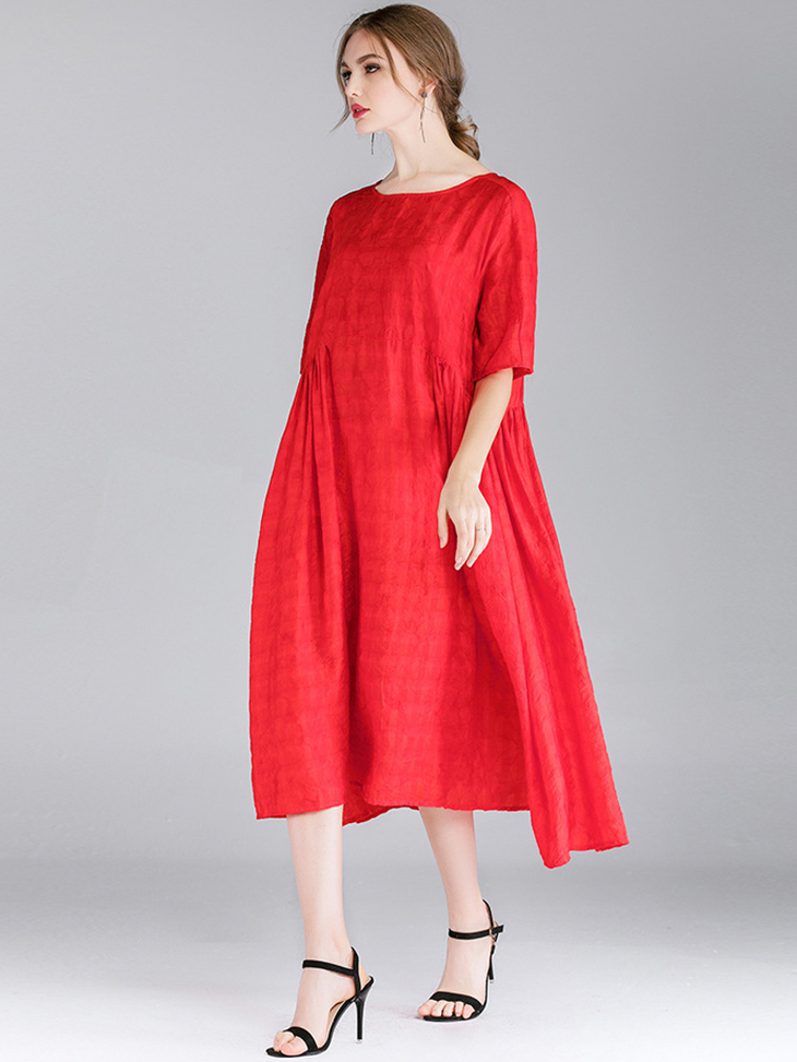 Rayon Blend Casual Dress with Loose Fit