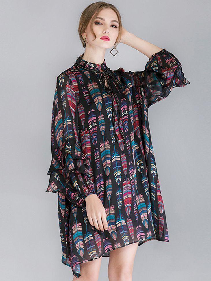 Chiffon Casual Dress with Ribbon Tied Neckline