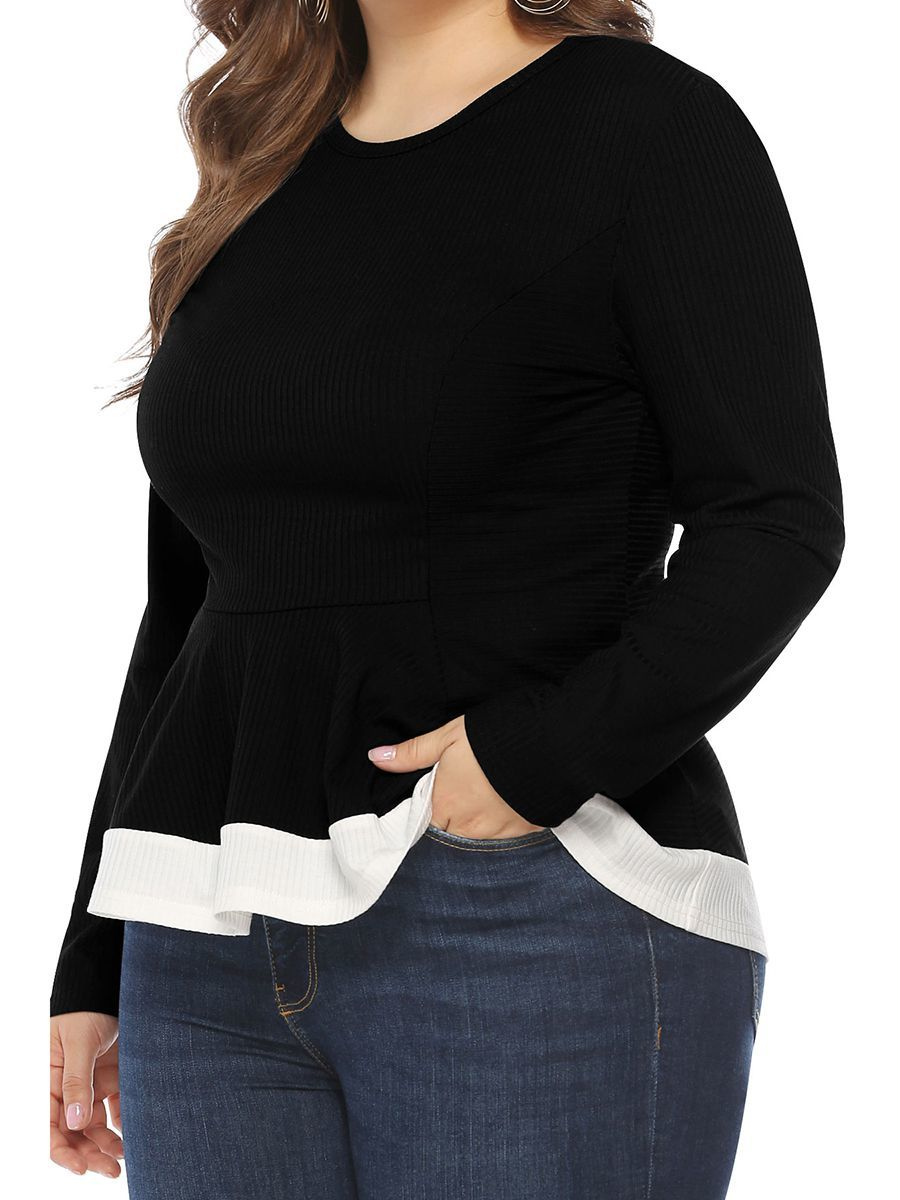 Knit top with Peplum in Plus Sizes