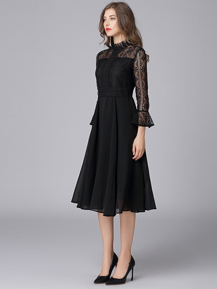Tea Length Chiffon and Lace Formal Dress
