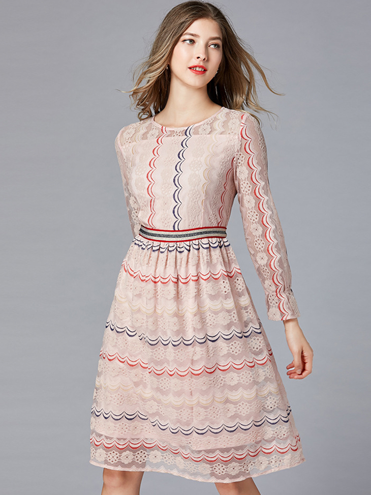 Cocktail Dress with Colorful Scalloped Embroidery