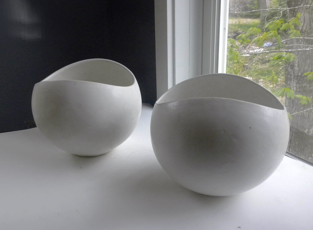 Working Prototype to Right, Bowl with Adjusted Curve to the Lip to the Left