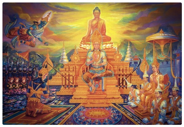 Paya Maha Chompoobodee is taught a lesson by the Buddha