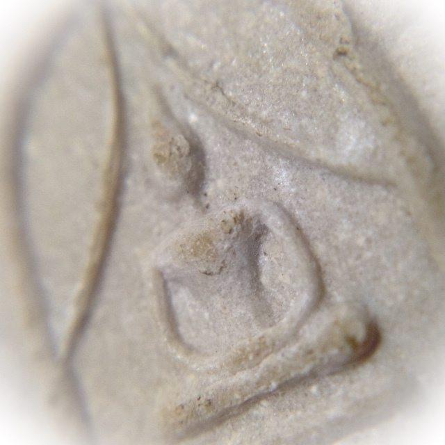 close up macro picture of the Muan Sarn Sacred Powders of the Buddha image on front face of amulet