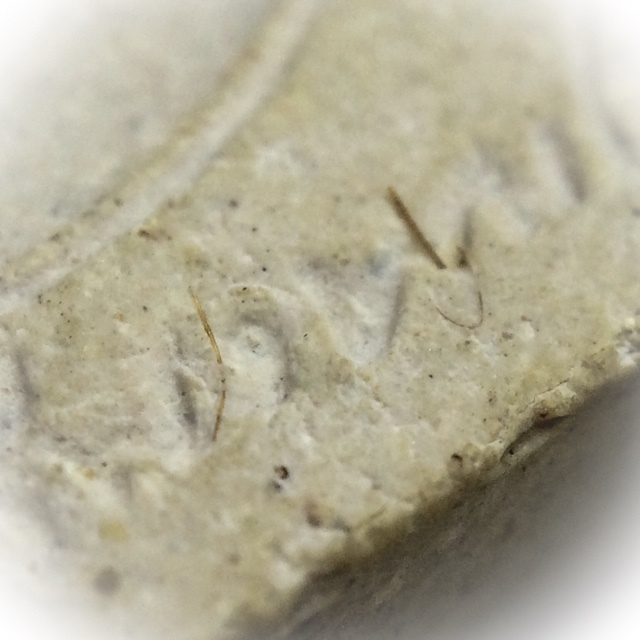 Close Up Macro Image of Monks Hair protruding from the Muan Sarn clay of the amulet