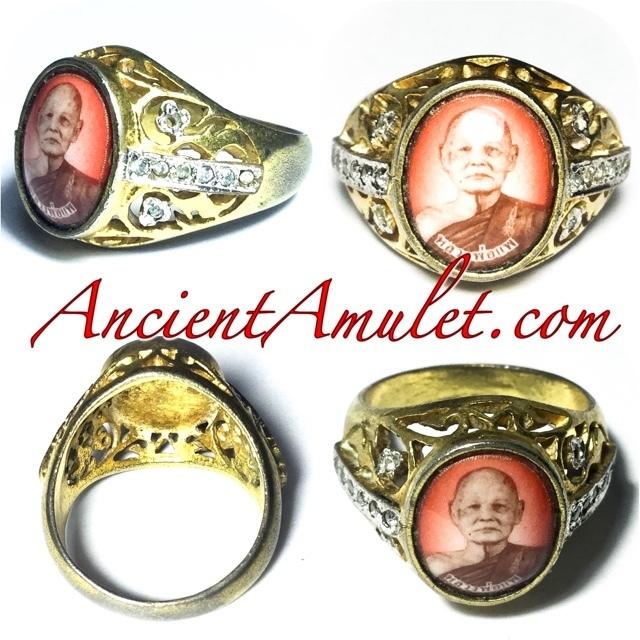 Hwaen Locket Nuea Tong Dork Buab Fang Paetch - Guru Monk Ring Luang Por Pae Wat Pikul Tong