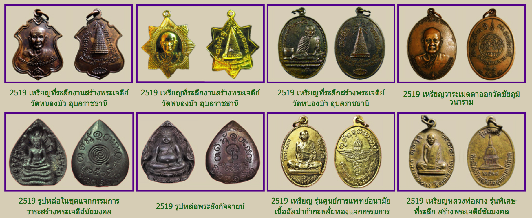 Some of the 2519 BE amulet editions of Luang Por Phang