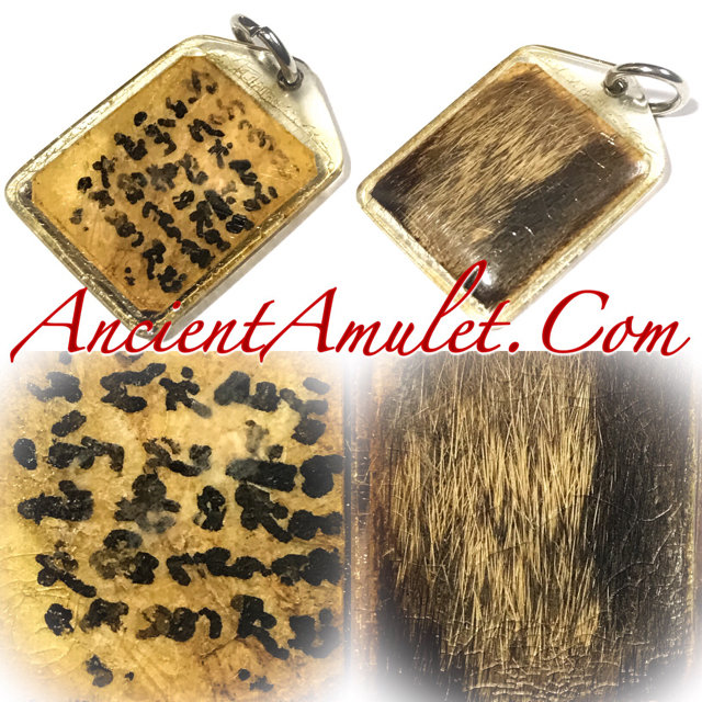 Hnaa Bpaag Suea Tiger Forehead Fur Magic spell amulet Luang Por Jong