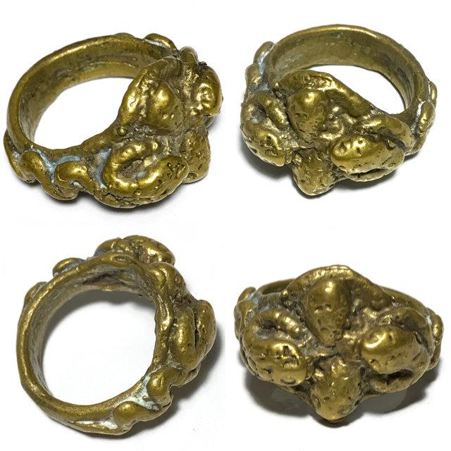 Hwaen Ngu Giaw Sap See Gler 2460 BE - 4 Entwined Snakes Magic Ring Protection & Wealth - Luang Por Im