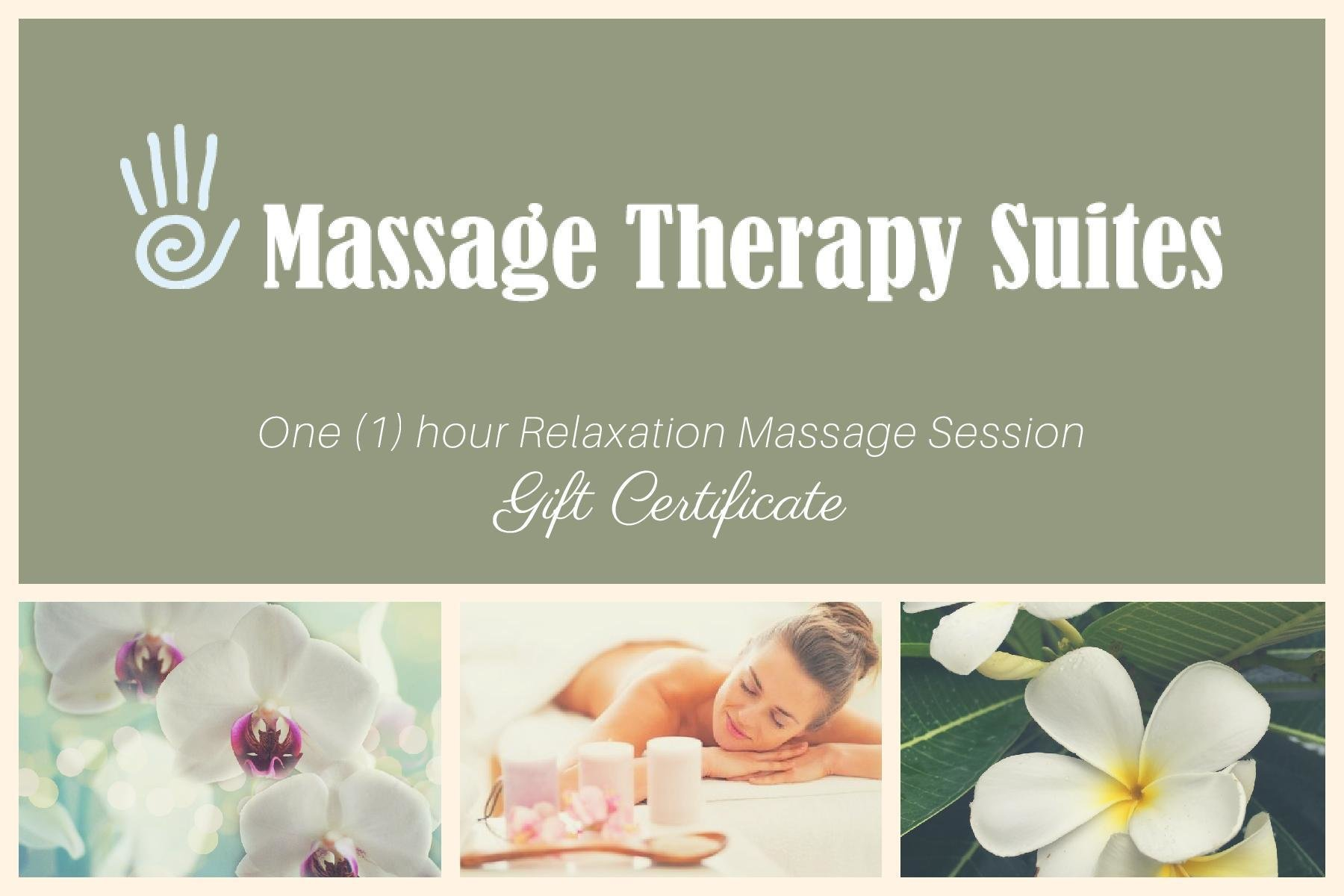 60 Minute Massage Gift Certificate for Massage Therapy Suites