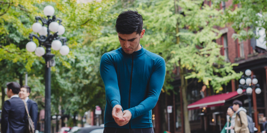 Technical hemp organic cotton spandex road cycling long sleeve jersey made in Canada. ethical and certified