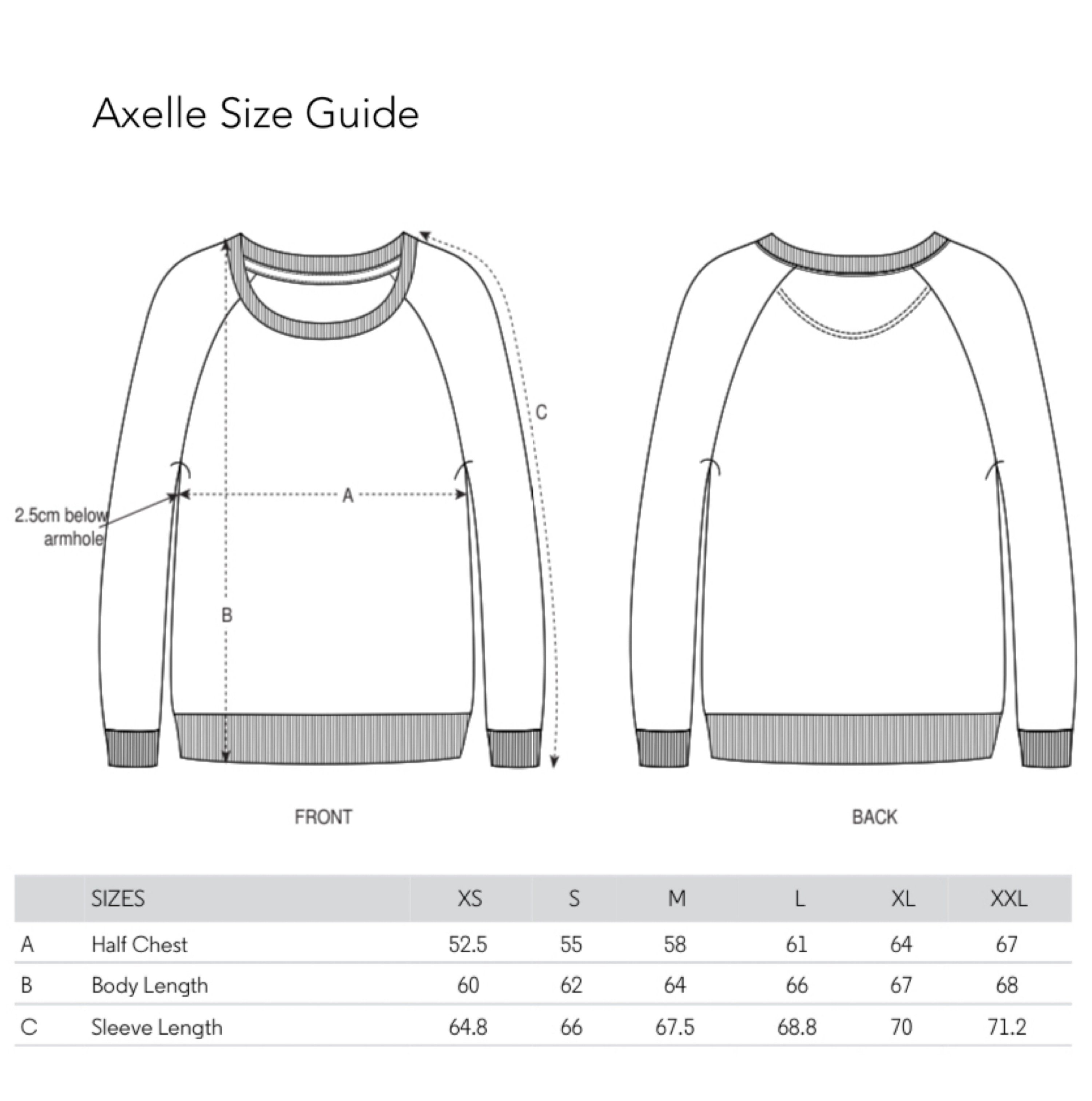 Axelle Size Guide