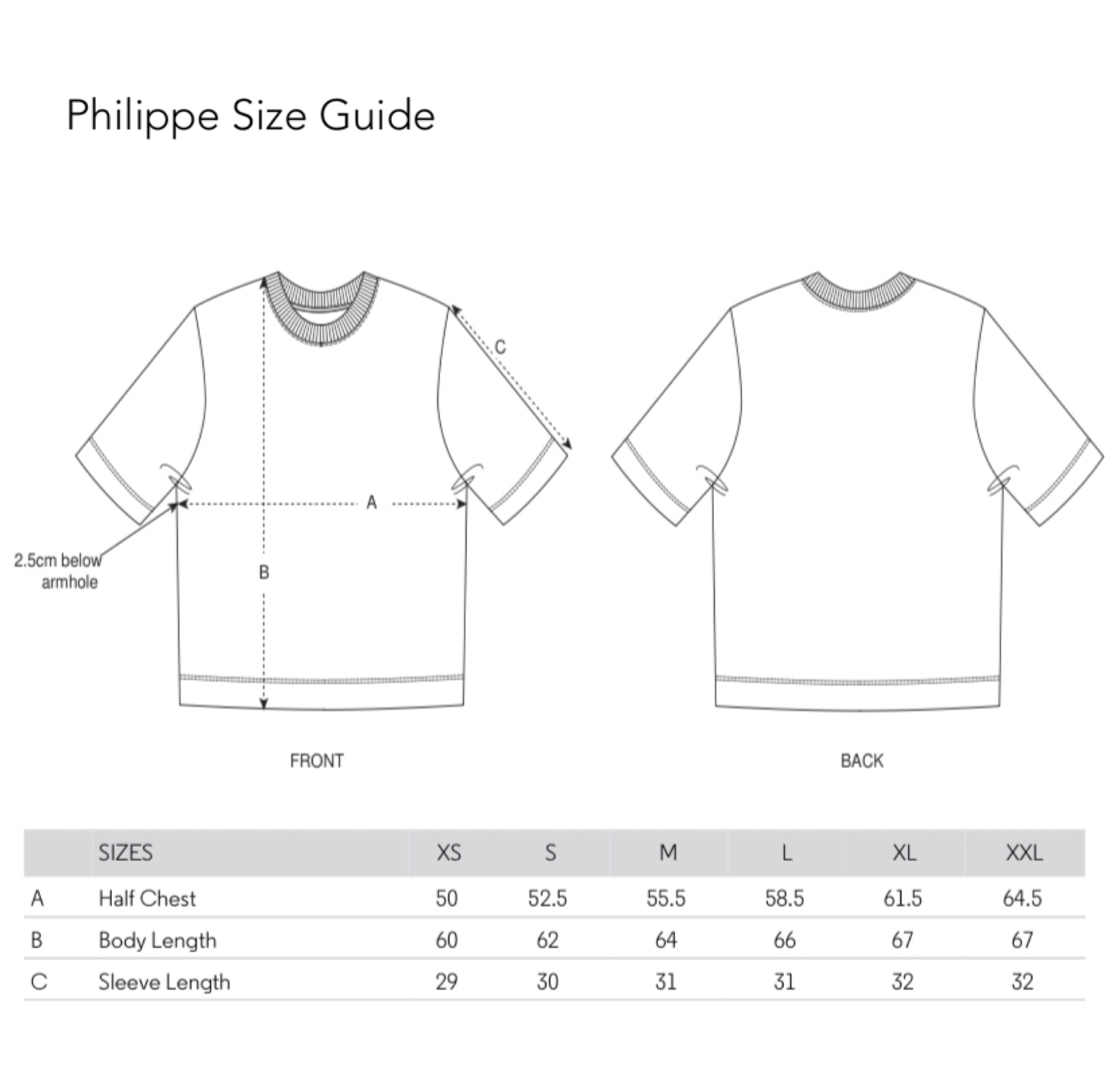 Philippe Size Guide