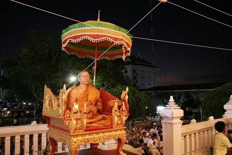 Luang Por Prohm Wat Ban Suan in Blessing Ceremony of Amulets