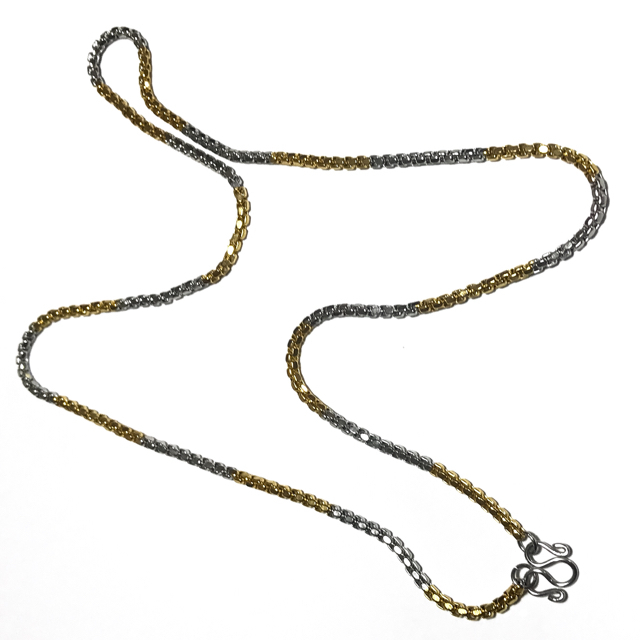 Stainless steel neck chain for three amulets gold and chrome plated medium-thick gauge
