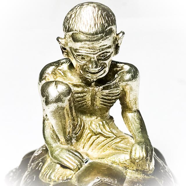 Por Gae solid silver Bucha statue riding a Turtle