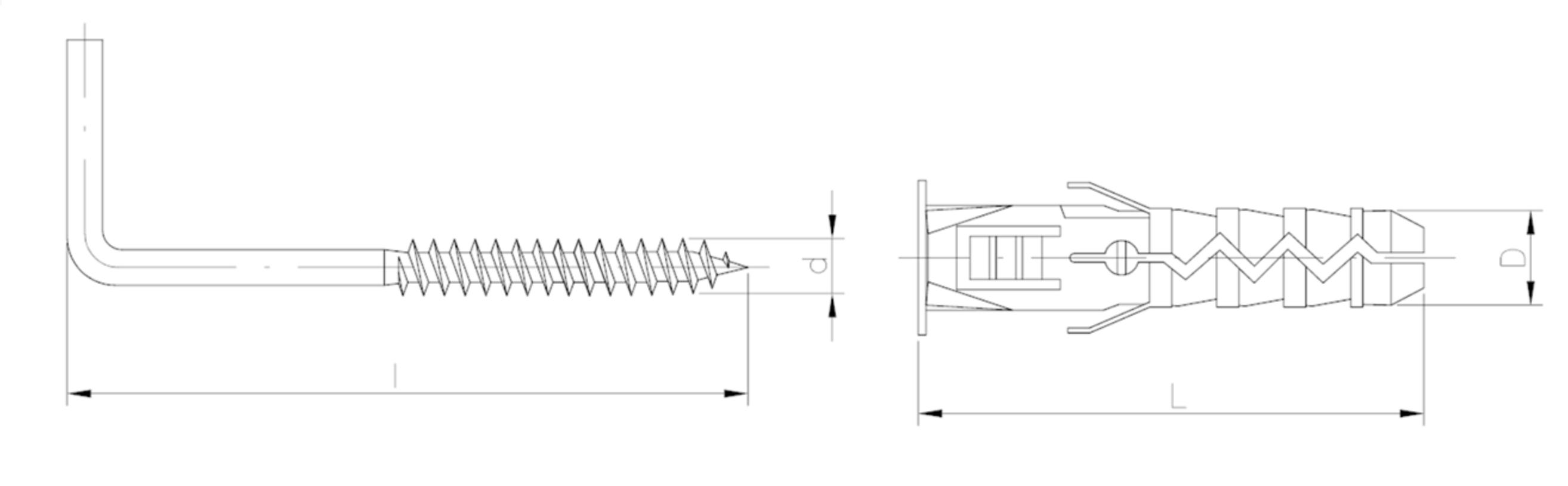 Ceiling Hook  Cavity Wall Heavy Duty Fixings Plugs Universal Nylon Wall Plugs
