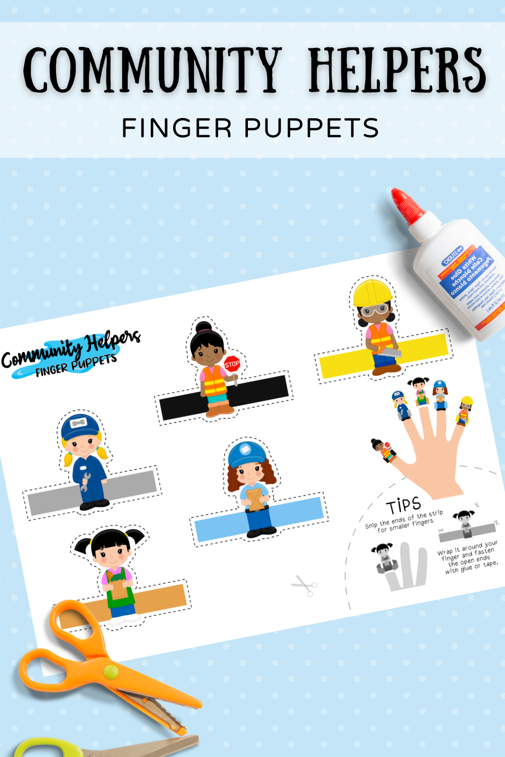 Community Helpers Girls Finger Puppets PIN 5 png