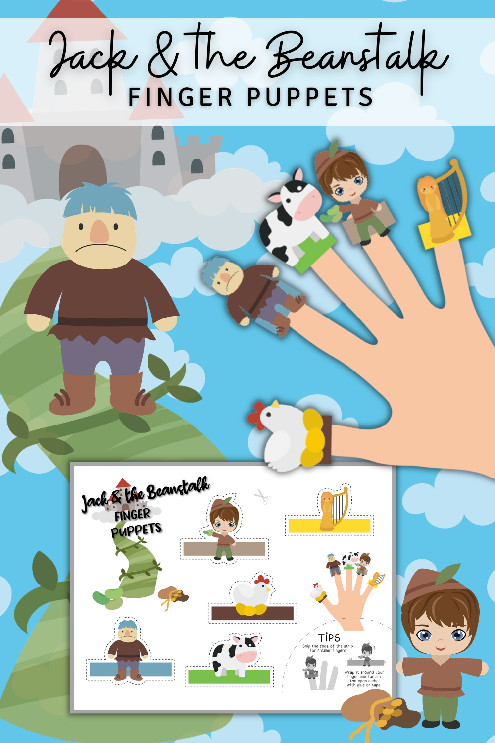 Jack and the Beanstalk Friends Finger Puppets PIN 2 png