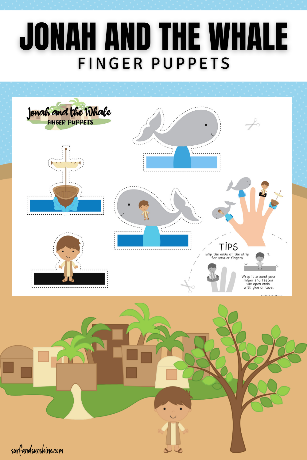 Jonah and the Whale Finger Puppets PIN png