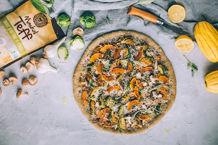 Teff Pizza with Squash, Brussels Sprouts and Mushrooms