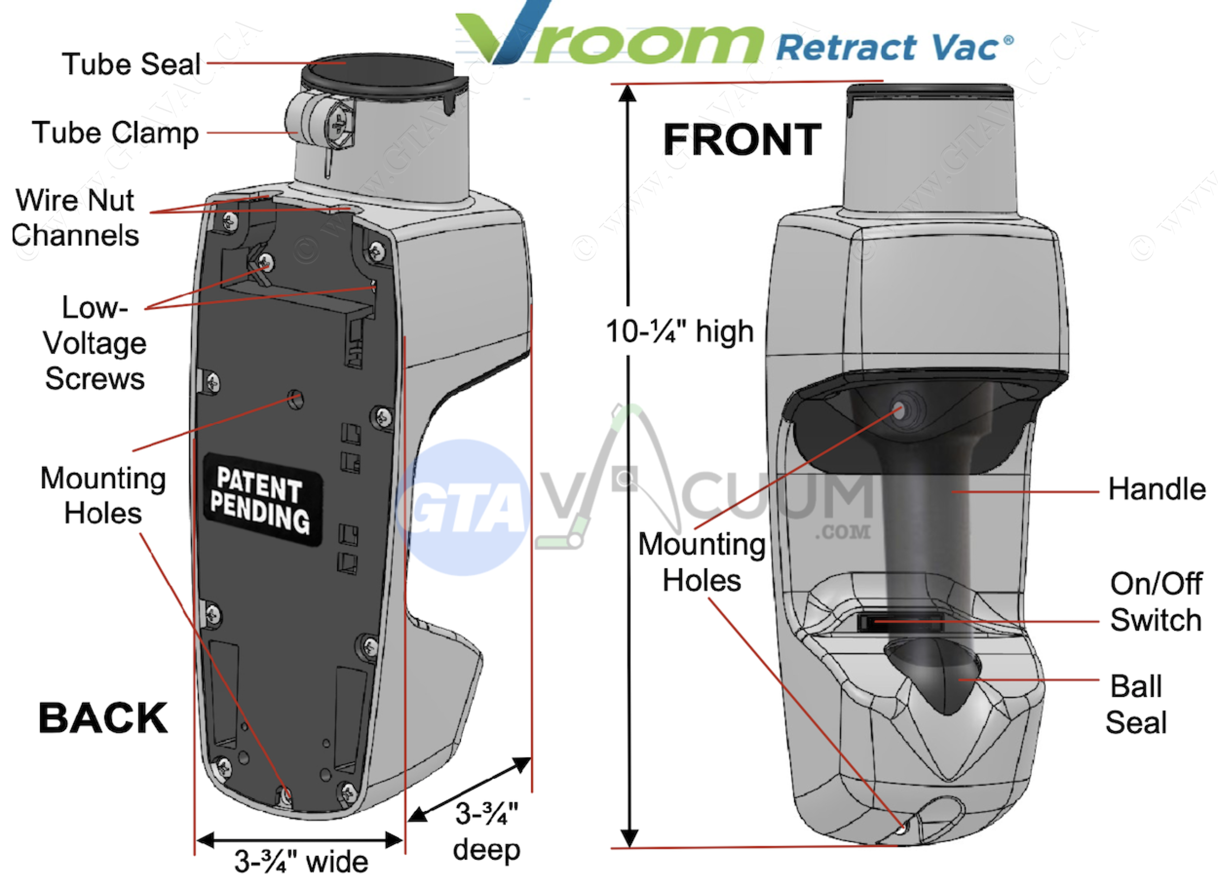 Vroom Retract Vac Surface Mount Valve RoughIn Specification png