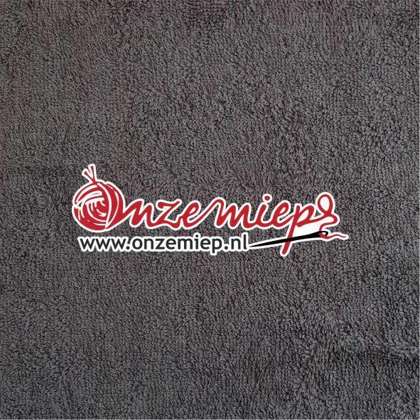 Handdoek met naam - antraciet - 50 x 100 cm