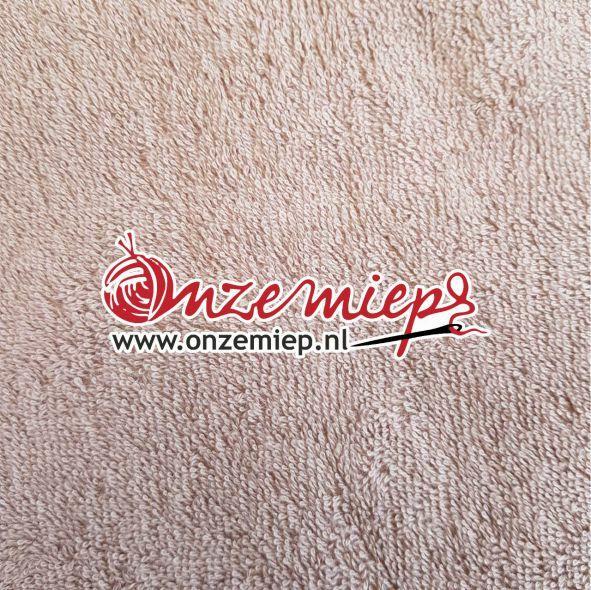 Handdoek met naam - licht taupe - 50 x 100 cm