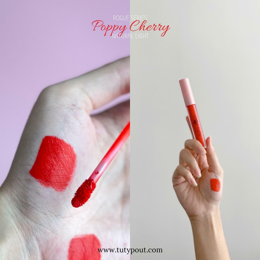 Tuty Pout Vegan & Cruelty-free Long-lasting Matte Liquid Lipstick - Poppy Cherry   Rogue Series