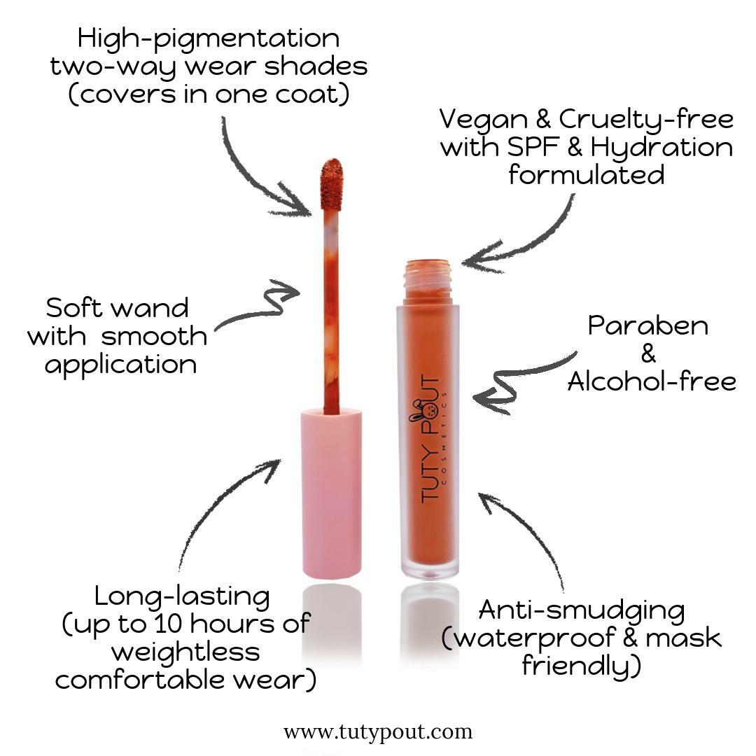 tuty pout vegan and cruelty-free long-lasting matte liquid lipstick