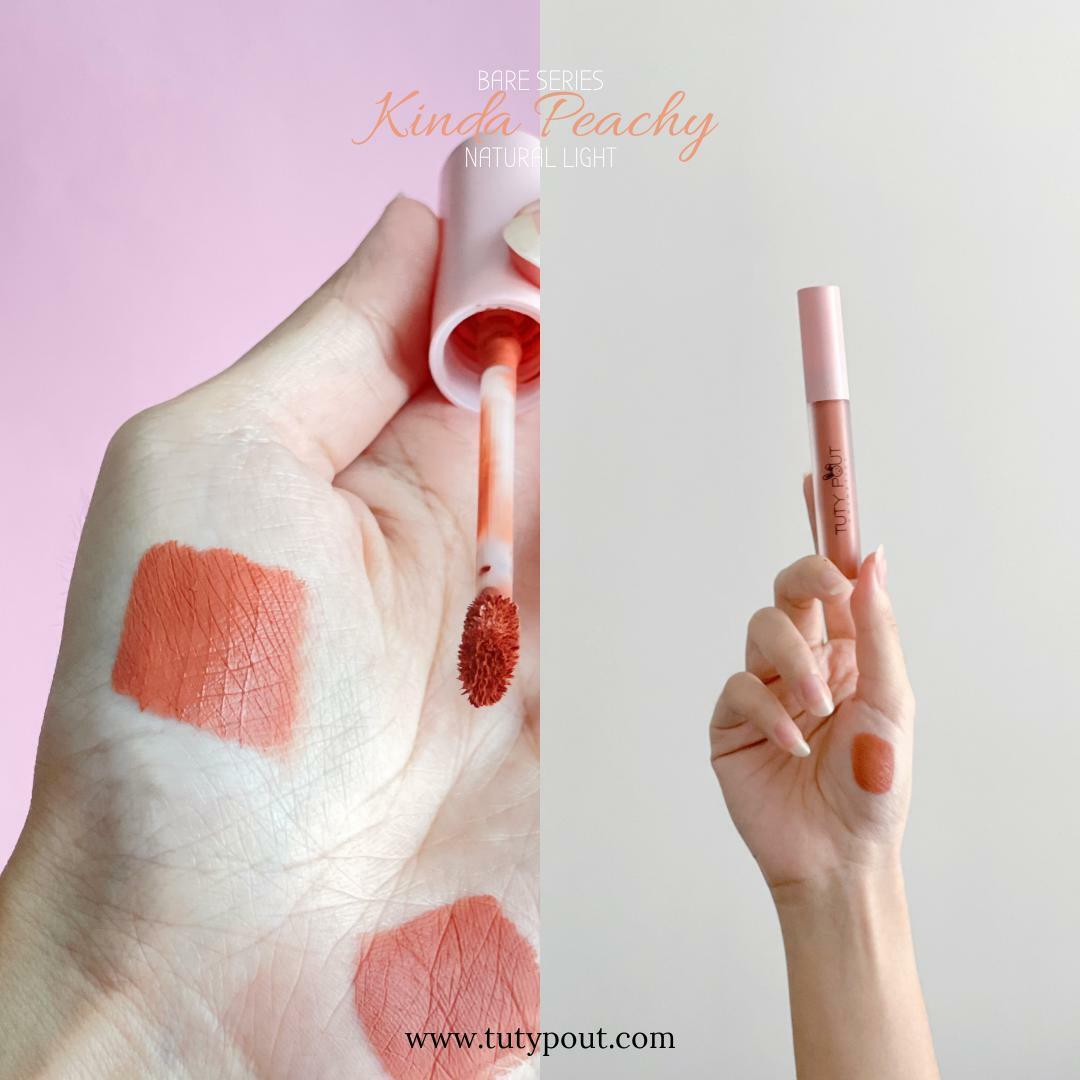 Tuty Pout Vegan & Cruelty-free Long-lasting Matte Liquid Lipstick - Kinda Peachy   Bare Series