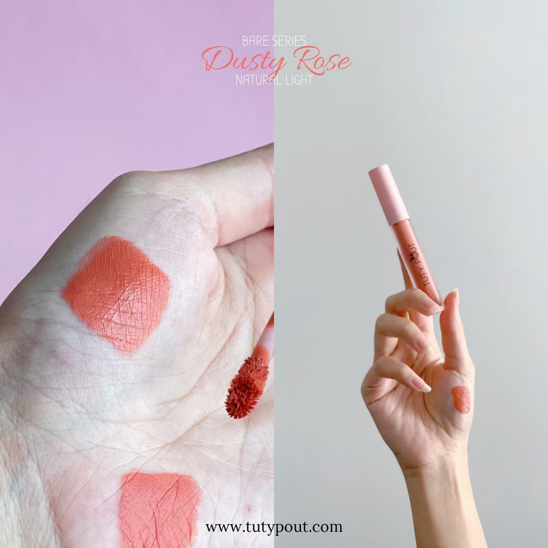Tuty Pout Vegan & Cruelty-free Long-lasting Matte Liquid Lipstick - Dusty Rose | Bare Series