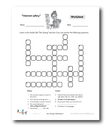 Lesson plan and worksheets on internet safety for grades for Internet safety coloring pages