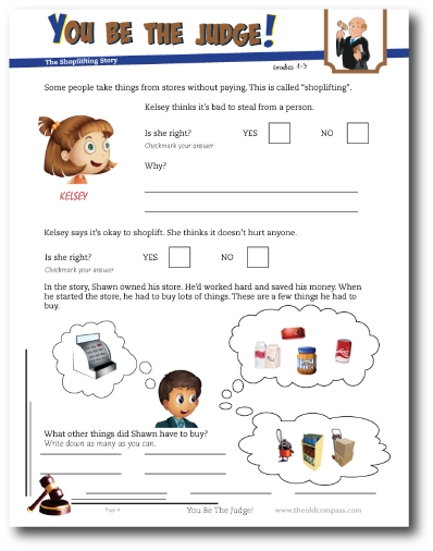 Shoplifting Lesson and Worksheet for kids