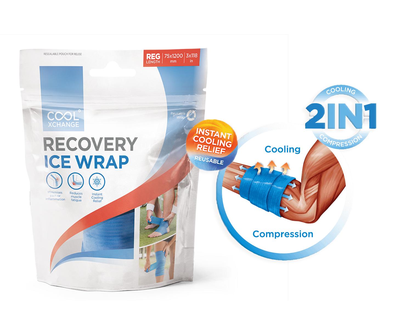 CoolXchange ® 二合一壓力和冷凍自黏凝膠彈性繃帶,有助預防及恢復,從受傷引起的肌肉疼痛、腫脹和發炎