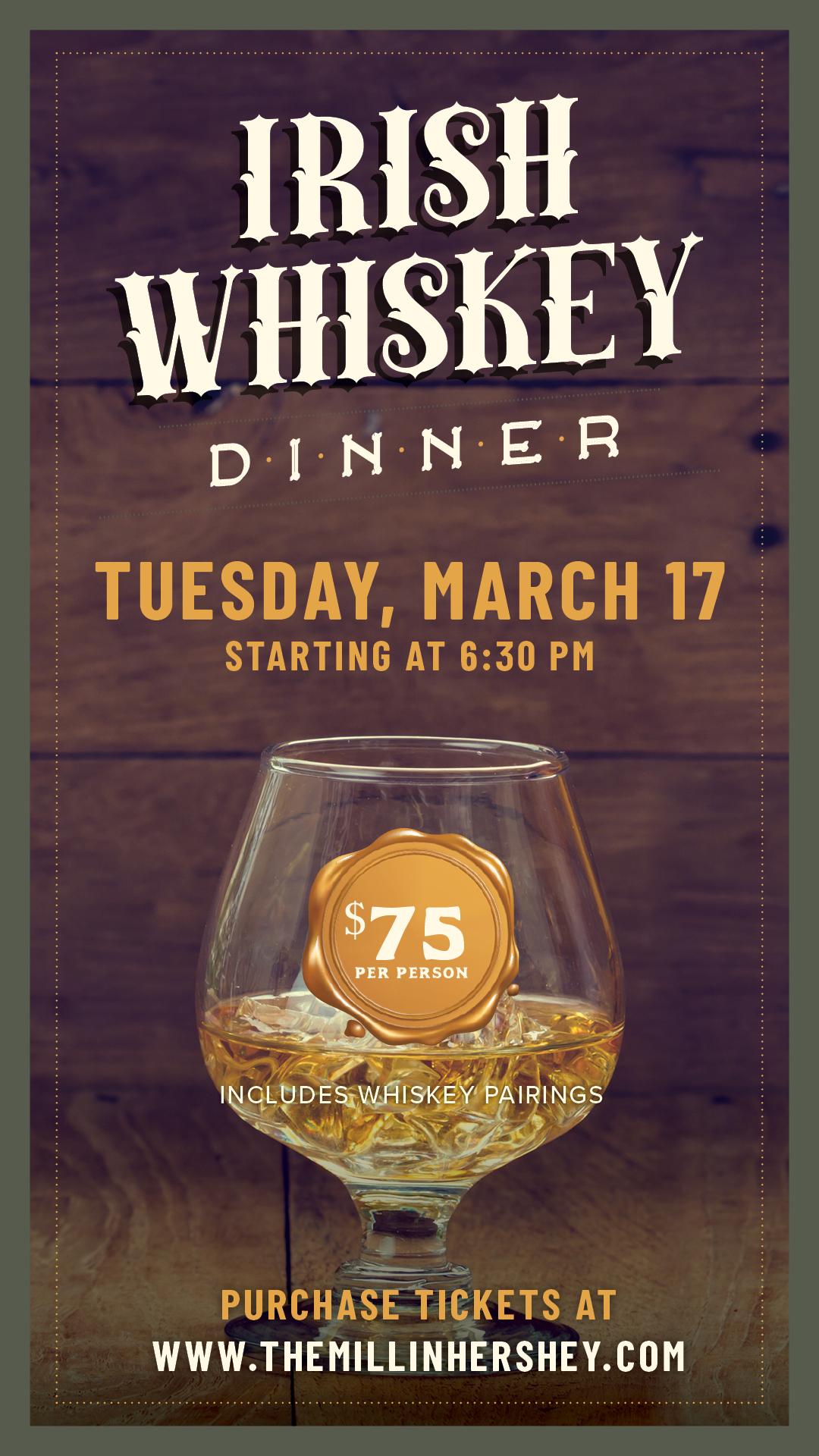 Irish Whiskey Dinner invite at the Mill