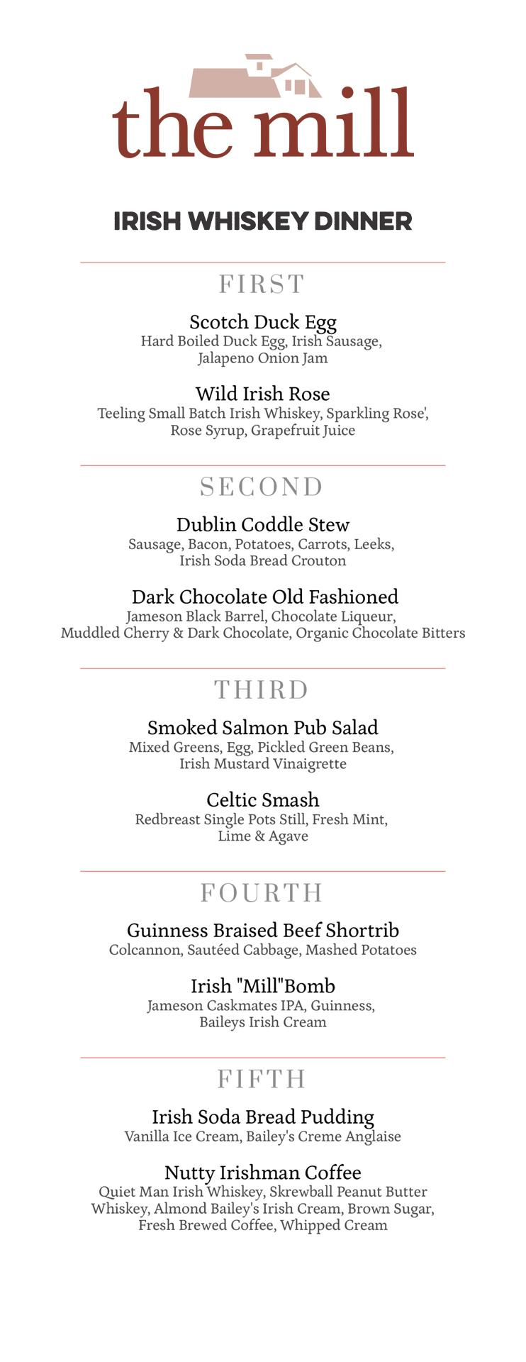 the mill logo and Irish Whiskey Dinner menu