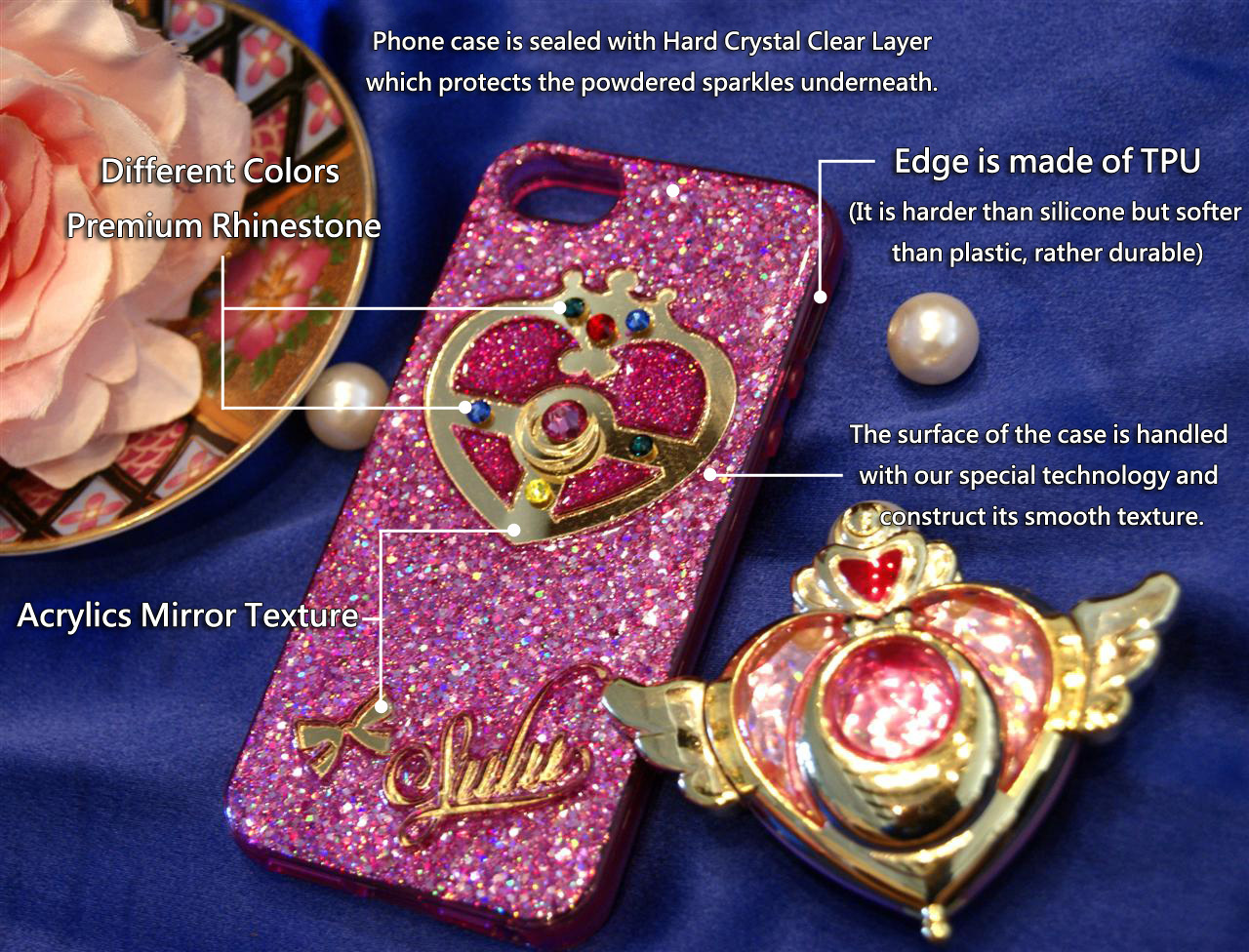cheaper de84f a5611 Custom Name Sailor Moon Stick Phone Case