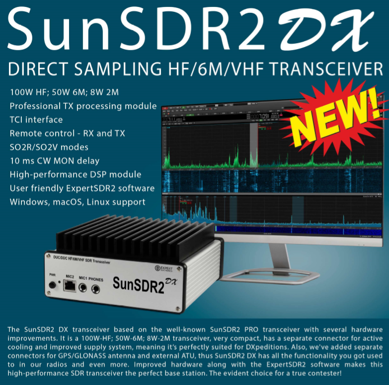 SunSDR2 DX 100W HF 50W 6m and 8W VHF SDR transceiver