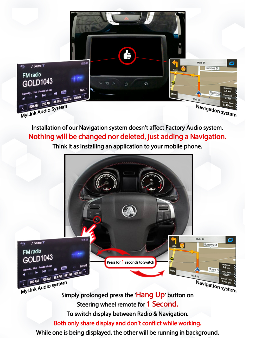 [2014 - Current] Holden RG Colorado MyLink Add-on GPS Navigation Audio  Upgrade System
