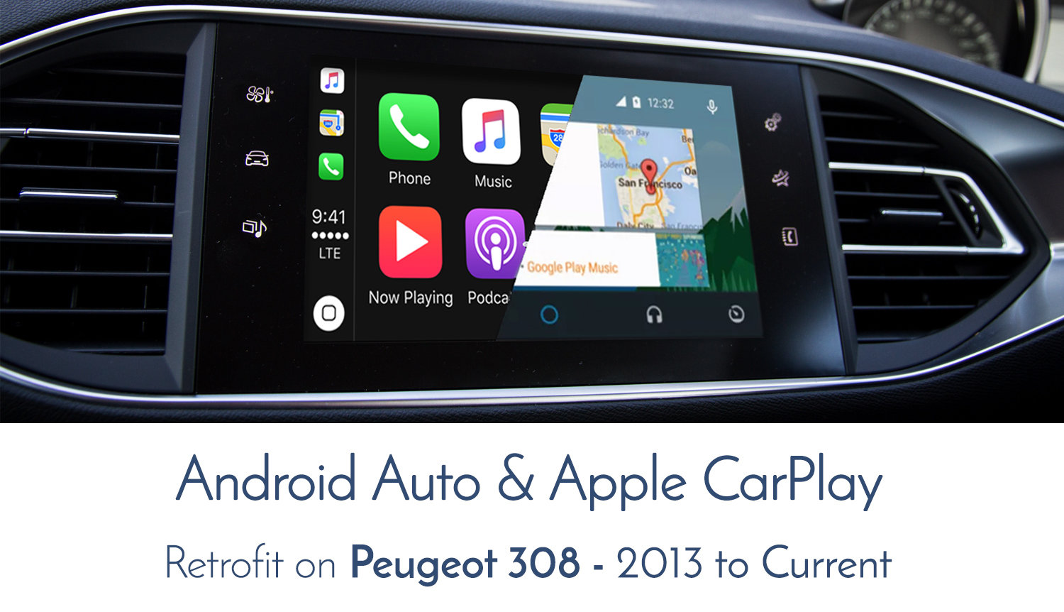 Peugeot 308 Mirror Screen Audio Integrated Apple Carplay Android