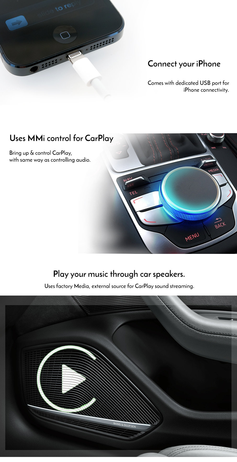 Apple CarPlay to suit Audi A3 8V 3G MMi Plus - Factory Audio