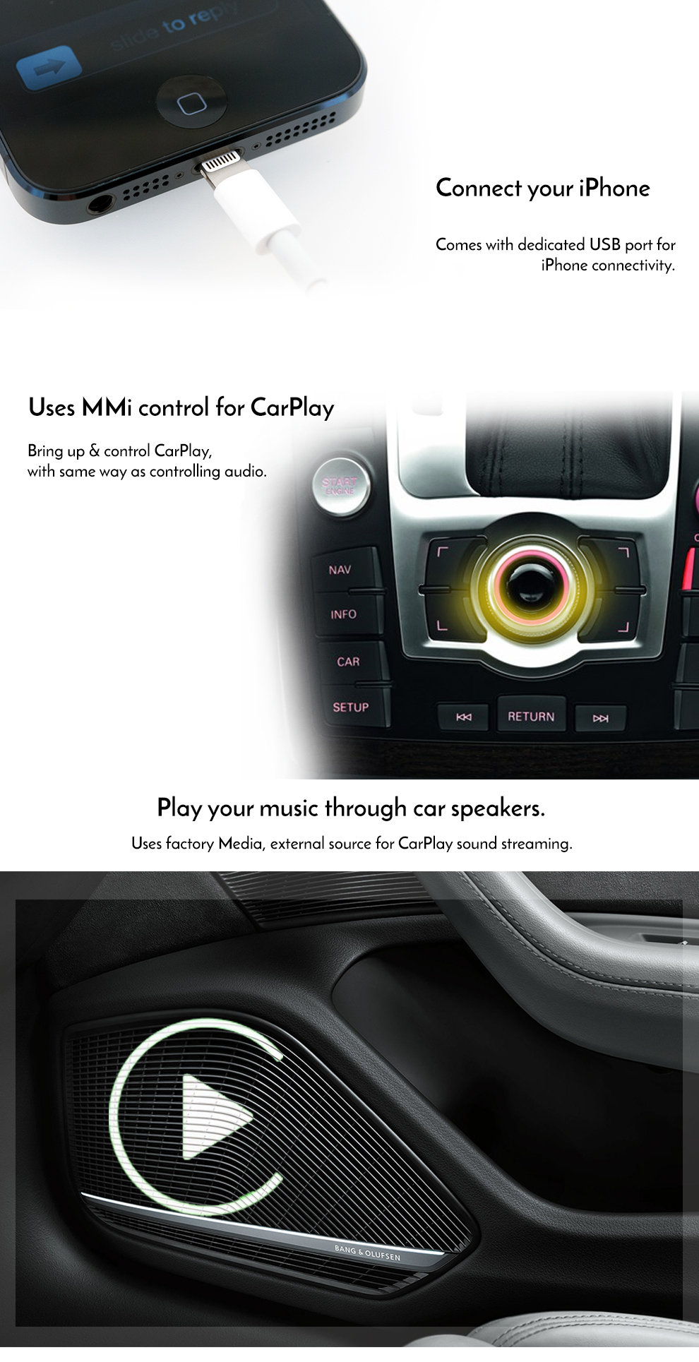 Apple CarPlay to suit Audi Q7 3G MMi 2009 - 2014 | Street Sound Vision