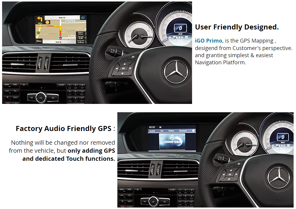 [2011 - 2014] Mercedes Benz W204 Face Lifted C-Class - Audio 20 Add-on  Touch GPS Navigation Upgrade system